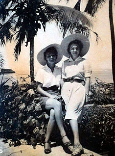 "Two young ladies, ""Mootie"" (Clive's mother) on the left and ""Girlie"" (Anthea's mother,) on the right, in Mombasa, Kenya around 1939"